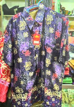 Baju kemeja batik khas kalimantan timur Biru Tua  oleholehetam