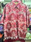 Baju kemeja batik khas kalimantan timur (merah gelap)