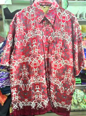 Baju kemeja batik khas kalimantan timur merah gelap  oleholehetam