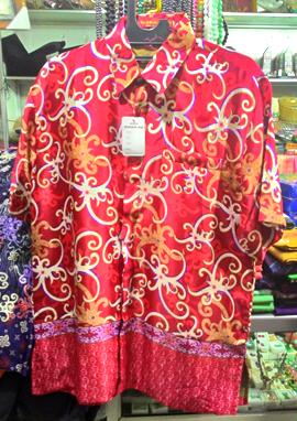Baju kemeja batik khas kalimantan timur merah  oleholehetam