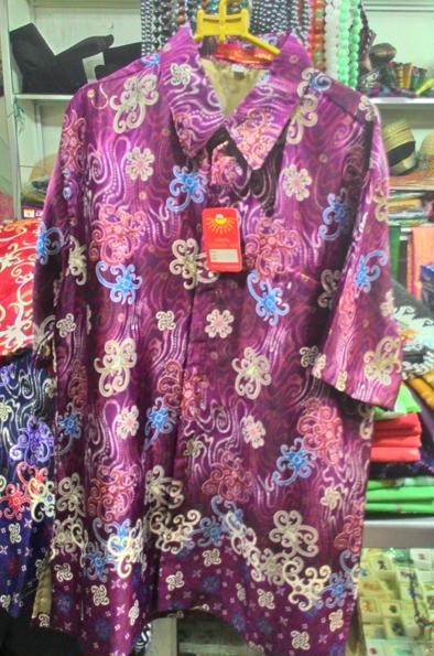 Baju Kemeja Batik Khas Kalimantan Timur Ungu Oleholehetam